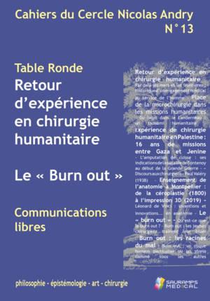 Cahiers du Cercle Nicolas Andry : philosophie, épistémologie, art, chirurgie. n° 13, Retour d'expérience en chirurgie humanitaire. Le burn-out
