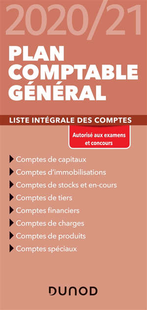 Plan comptable général 2020-21 : liste intégrale des comptes
