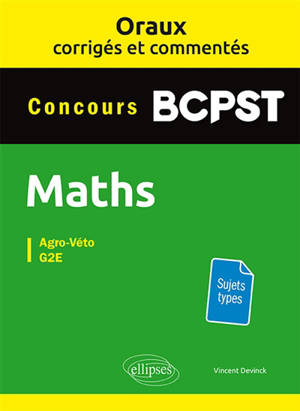 Maths concours BCPST : agro-véto, G2E : sujets types