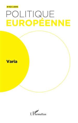Politique européenne. n° 63