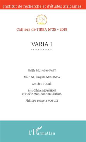 Cahiers de l'IREA. n° 35, Varia I