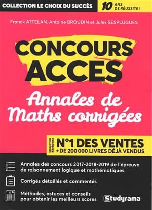 Concours Accès : annales de maths corrigées