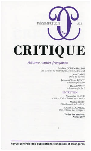Critique. n° 871, Adorno : suites françaises