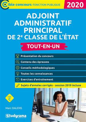 Adjoint administratif principal de 2e classe de l'Etat : tout-en-un, catégorie C : 2020