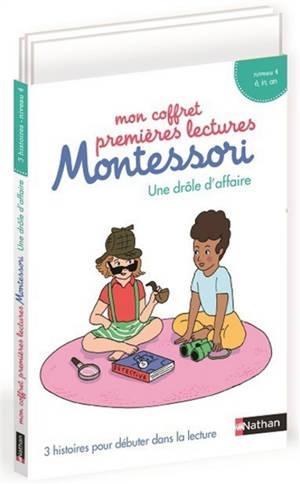 Mon coffret premières lectures Montessori : une drôle d'affaire : 3 histoires pour débuter dans la lecture, niveau 4, homophones, é, in, an