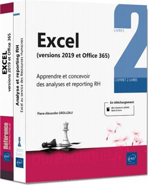 Excel 2019 : apprendre et concevoir des analyses et reporting RH : coffret 2 livres