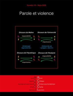 Revue des collèges de clinique psychanalytique du champ lacanien. n° 19, Parole et violence
