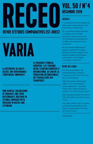 Revue d'études comparatives Est-Ouest. n° 4 (2019)