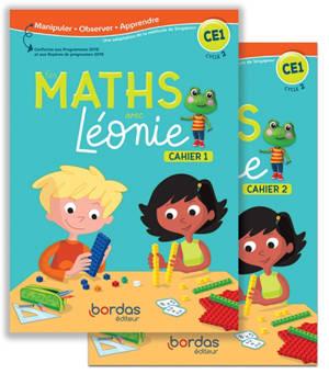 Les maths avec Léonie CE1, cycle 2 : cahiers 1 et 2