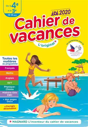 Cahier de vacances de la 4e à la 3e, 13-14 ans : toutes les matières au programme : été 2020