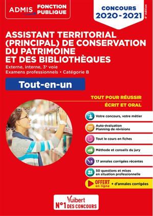 Assistant territorial (principal) de conservation du patrimoine et des bibliothèques : externe, interne, 3e voie, examens professionnels, catégorie B : tout-en-un, concours 2020-2021