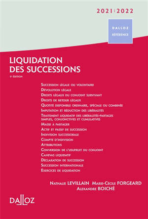 Liquidation des successions : 2021-2022