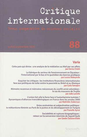 Critique internationale. n° 88, Varia