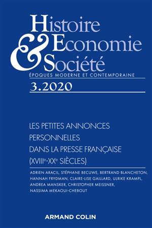 Histoire, économie & société. n° 3 (2020), Les petites annonces personnelles dans la presse française (XVIIIe-XXe siècles)