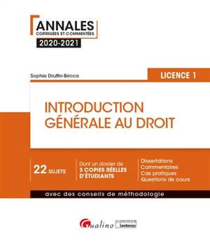 Introduction générale au droit : licence 1 : 2020-2021