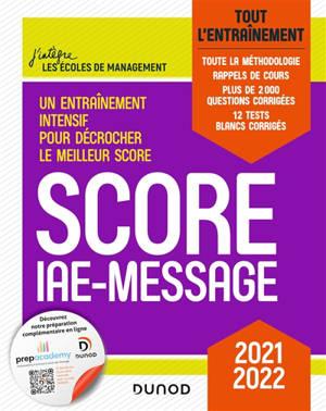 Score IAE-Message : tout l'entraînement : 2021-2022