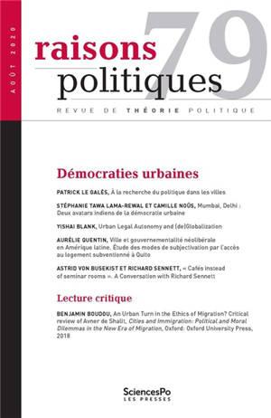 Raisons politiques. n° 79, Démocraties urbaines