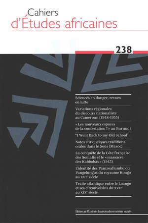 Cahiers d'études africaines. n° 238