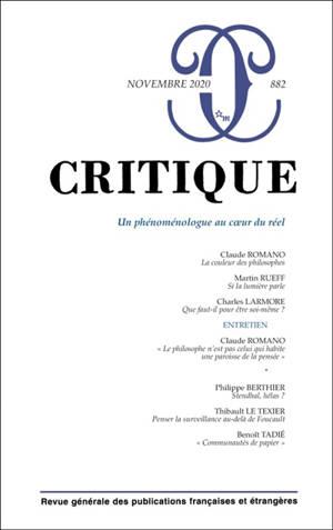 Critique. n° 882, Un phénoménologue au coeur du réel