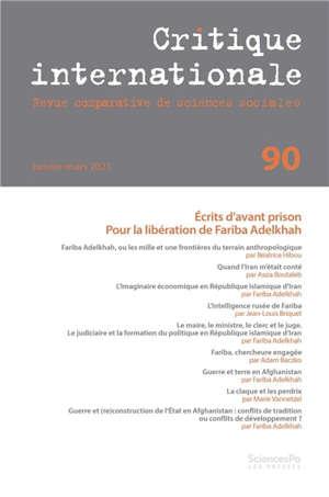 Critique internationale. n° 90, Ecrits d'avant prison : pour la libération de Fariba Adelkhah