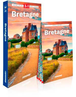 Bretagne : 3 en 1 : guide, atlas, carte laminée