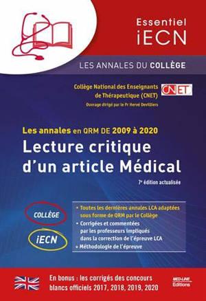 Lecture critique d'un article médical : les annales en QRM de 2009 à 2020