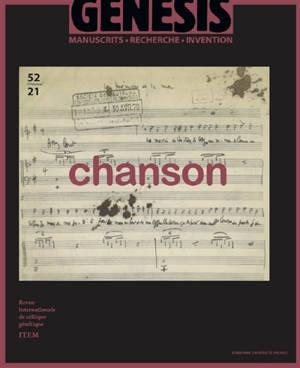 Genesis : manuscrits, recherche, invention. n° 52, Chanson