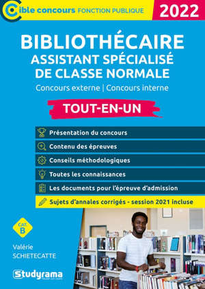 Bibliothécaire assistant spécialisé de classe normale : concours externe, concours interne, cat. B : tout-en-un, 2022