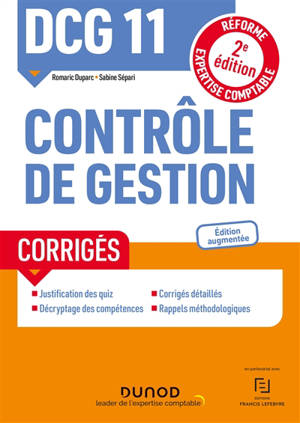 DCG 11, contrôle de gestion : corrigés : réforme expertise comptable