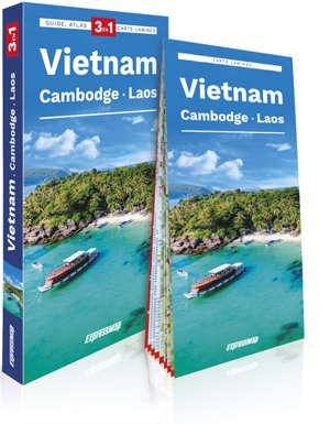 Vietnam, Cambodge, Laos : 3 en 1 : guide, atlas, carte laminée