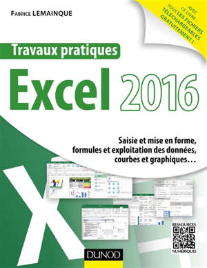 Travaux pratiques Excel 2016 : saisie et mise en forme, formules et exploitation des données, courbes et graphiques...
