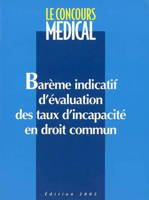 Barème indicatif d'évaluation des taux d'incapacité en droit commun