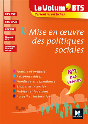 Mise en oeuvre des politiques sociales : BTS ESF, BTS SP3S, DECESF, licence pro, concours travail social