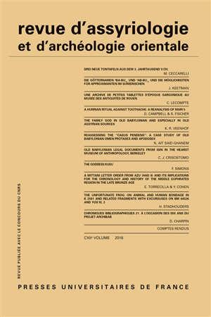 Revue d'assyriologie et d'archéologie orientale. n° 112