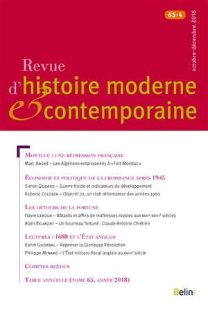 Revue d'histoire moderne et contemporaine. n° 65-4