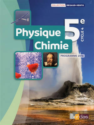 Physique chimie 5e, cycle 4 : programme 2016