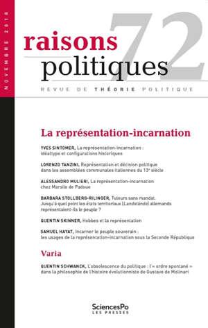 Raisons politiques. n° 72, La représentation-incarnation