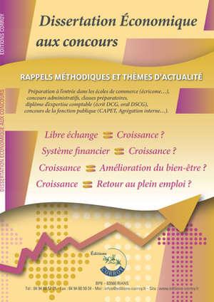 Dissertation économique aux concours : rappels méthodiques et thèmes d'actualité