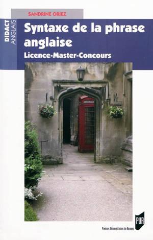 Syntaxe de la phrase anglaise : licence, master, concours
