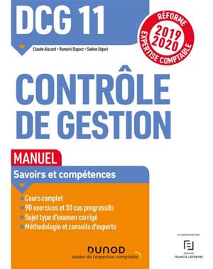 DCG 11, contrôle de gestion : manuel : réforme expertise comptable 2019-2020