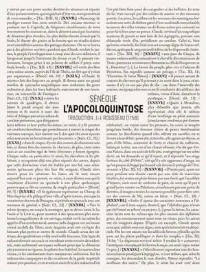 L'apocoloquintose de l'empereur Claude : pamphlet violent faisant suite à l'élimination physique d'un prince