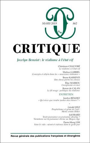 Critique. n° 862, Jocelyn Benoist : le réalisme à l'état vif
