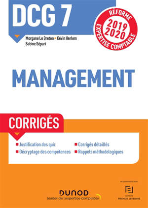 DCG 7, management : corrigés