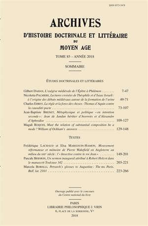 Archives d'histoire doctrinale et littéraire du Moyen Age. n° 85