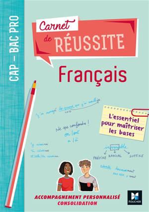 Carnet de réussite français, CAP, bac pro