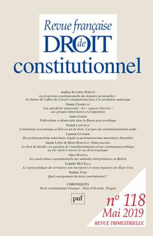 Revue française de droit constitutionnel. n° 118