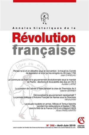 Annales historiques de la Révolution française. n° 396, Varia