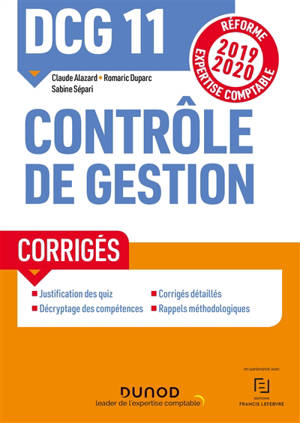 DCG 11, contrôle de gestion : corrigés : réforme expertise comptable 2019-2020