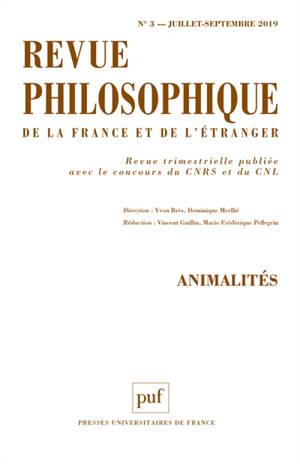 Revue philosophique. n° 3 (2019), Animalités