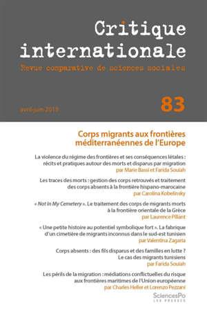 Critique internationale. n° 83, Corps migrants aux frontières méditerranéennes de l'Europe